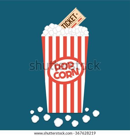 Popcorn box flat illustration. Cinema popcorn flat icon. Popcorn. Vintage red box of popcorn. Cinema tickets. Vector illustration - stock vector