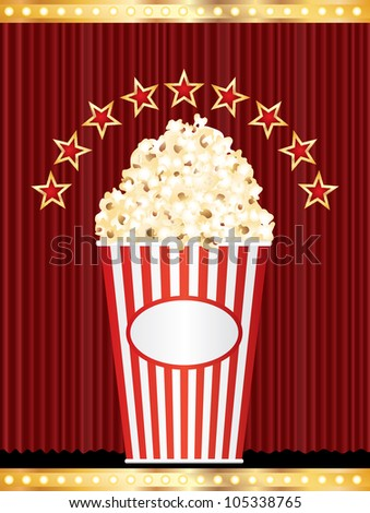 popcorn box with stars on red curtain - stock vector
