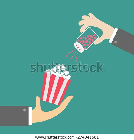 Popcorn. Businessman hand. Salt shacker with hearts. Cinema icon in flat design style. Vector illustration - stock vector