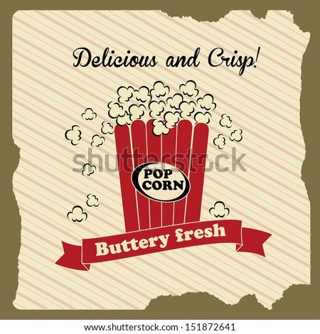 popcorn design over lineal background vector illustration - stock vector