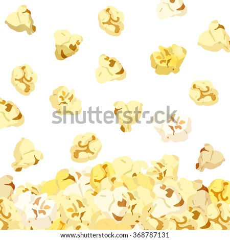 Popcorn falling isolated on white background. vector 10eps - stock vector