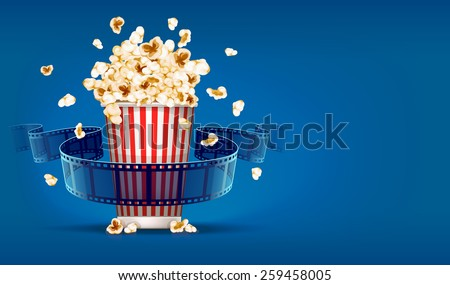 Popcorn for cinema and movie film tape on blue background. Eps10 vector illustration - stock vector