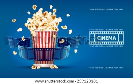 Popcorn for movie theater and online cinema reel on blue background. Eps10 vector illustration. Paper package full of jumping popcorns and film tape for cinematography.  - stock vector