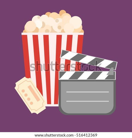 Popcorn for movie theater and online cinema reel on blue background. Eps10 vector illustration. Paper package full of jumping popcorns and film tape for cinematography.