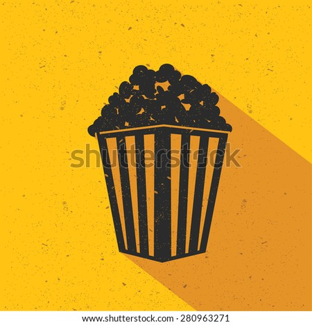 Popcorn icon design on yellow background,flat design,clean vector - stock vector