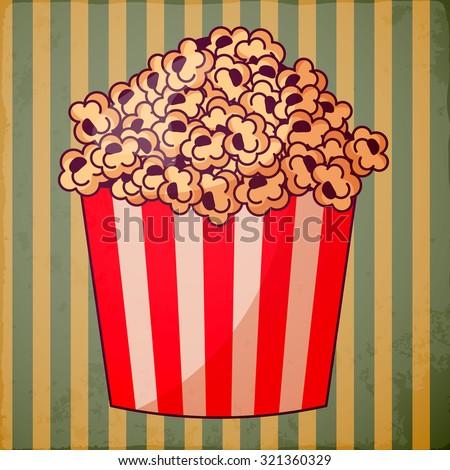 Popcorn in a striped tub. - stock vector