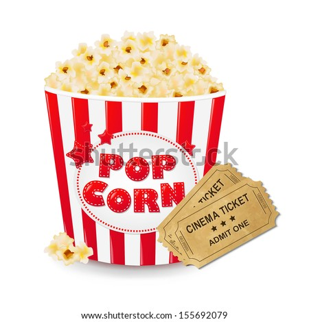 Popcorn In Cardboard Box With Ticket Cinema With Gradient Mesh, Vector Illustration - stock vector