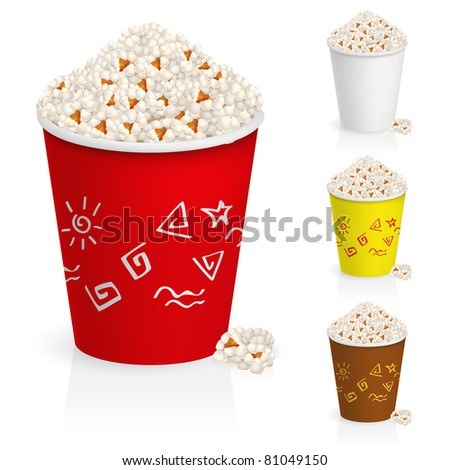 Popcorn in fun multi-colored glasses. Illustration on white background