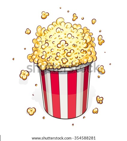 Popcorn in striped basket. vector illustration. Isolated on white background. Transparent objects used for lights and shadows drawing.