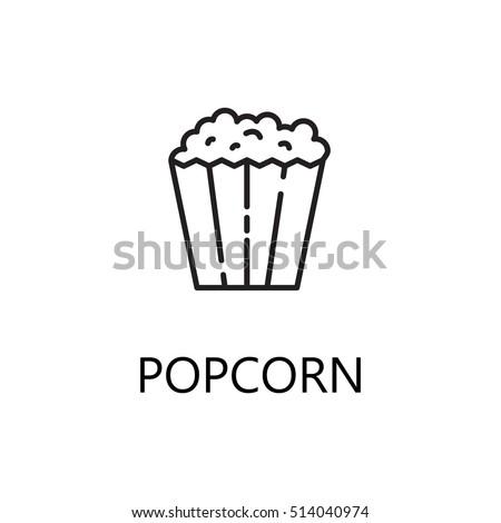 Popcorn Line Icon Single High Quality Stockvector Rechtenvrij