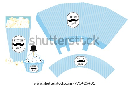 Popcorn Paper Box. Cupcake Wrapper. Printable Template For Little Manu0027s  Birthday(baby Shower
