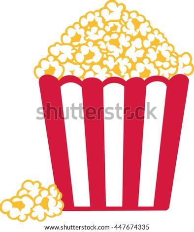 Popcorn red white striped - stock vector