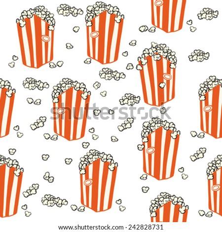 popcorn seamless pattern on white - stock vector