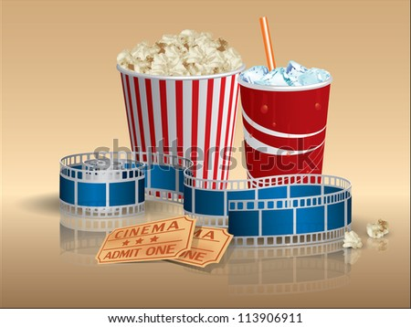 Popcorn, soda and movie tickets with filmstrip - stock vector