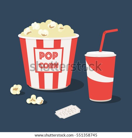 Popcorn striped bucket with cup of soda and cinema ticket. Vector illustration in trendy style