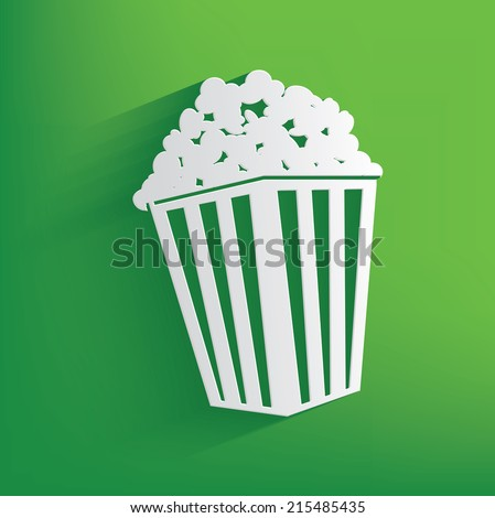 Popcorn symbol on green background,clean vector - stock vector
