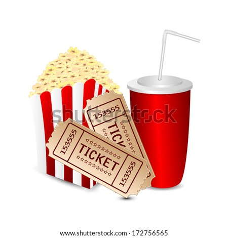 popcorn with a drink and movie tickets isolated on white background.movie icon.vector - stock vector