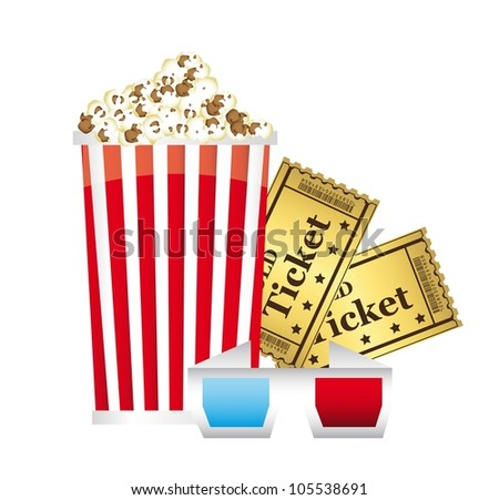 popcorn with 3d glasses and tickets over white background. vector - stock vector