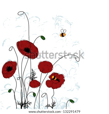 Poppies and bees. Summer background - stock vector