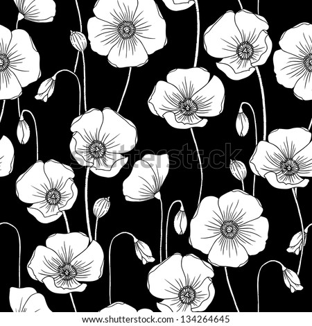 Poppies b/w vector seamless pattern. - stock vector