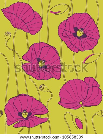 poppies - floral seamless pattern - stock vector