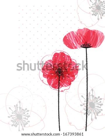 Poppy background - stock vector