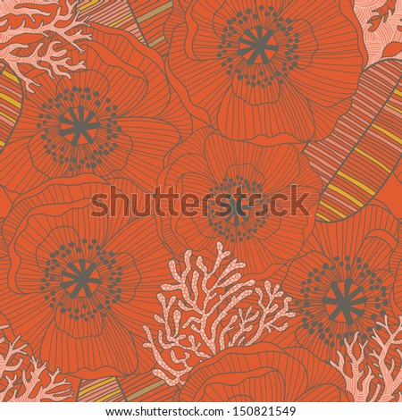 Poppy carpet � bright floral background in vector. Seamless pattern can be used for wallpaper, pattern fills, web page background,surface textures. Gorgeous vintage seamless floral card - stock vector