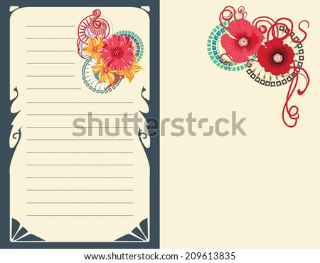 Poppy flower card, invitation design on white background. Eps 10. - stock vector
