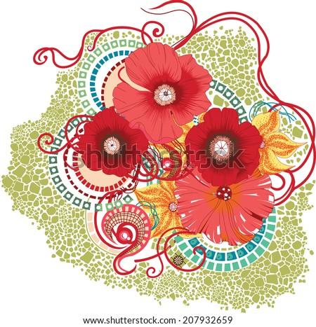 Poppy flower design on white background. Eps 10. - stock vector