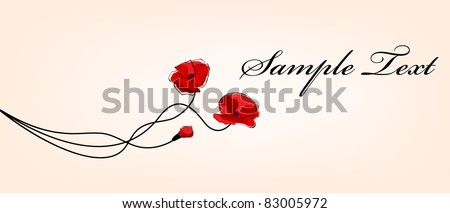 poppy flowers card - stock vector