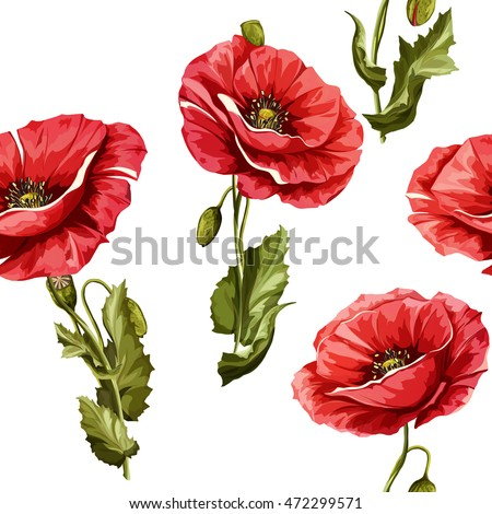 Poppy flowers seamless background pattern poppy stok vektr seamless background pattern of poppy flowers vector stock mightylinksfo