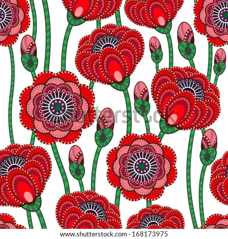 Poppy seamless pattern. Vector illustration. - stock vector