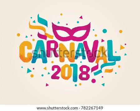 Popular Event in Brazil. Carnival Title With Colorful Party Elements. Travel destination.