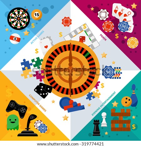 Popular gambling games symbols geometric corner colorful composition banner with roulette central square abstract vector illustration - stock vector