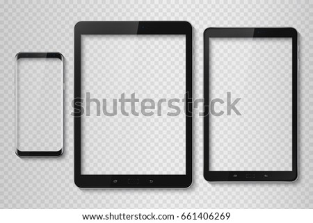 Popular top model of modern frameless smartphone and teblet. Technological template with transparent display. Vector illustration