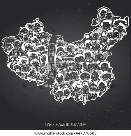 Population of China. Cartoon Chinese people set. Hand-drawn on Gray Chalkboard - stock vector