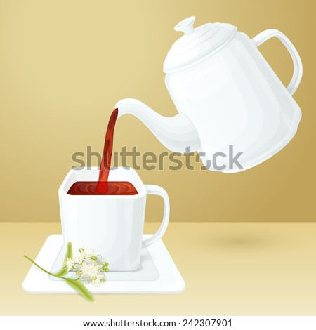 Porcelain tea cup and pot with linden brunch vector illustration - stock vector