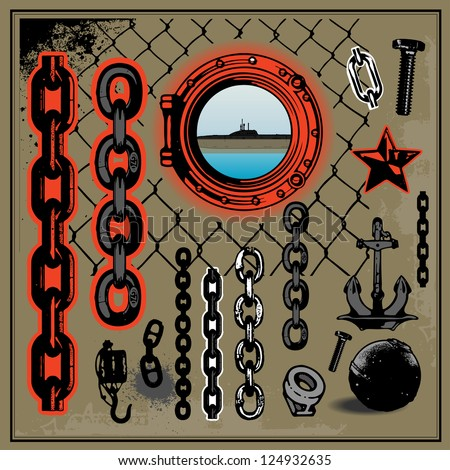 port-related, metal junk - stock vector