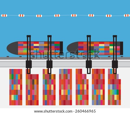 Port with cargo ship and container terminal. - stock vector
