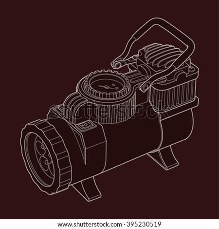 Portable Car Air Compressor Car Tyre Stock Illustration 395219410 - Shutterstock