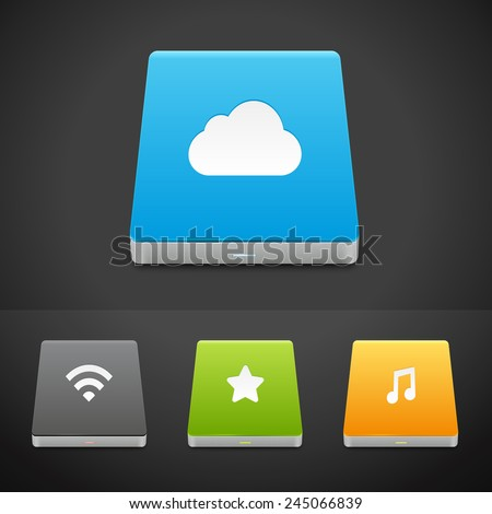 Portable Data Storage Hard Disc Drive Icons. Vector Illustration of different HDD types - stock vector