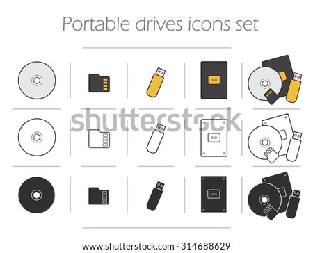 Portable drives icons set. Digital storage devices silhouettes. Data holders electronics accessories linear symbols. Pocket usb stick. Mobile micro sd card. Compact disk. Computer hard drive. Vector - stock vector