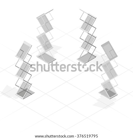 Portable folding advertising stand with shelves for printed materials, magazine, or newspaper, in gray color an isometric projection, isolated on white background. - stock vector