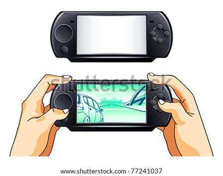 Portable game pad blank and with gamer hands - stock vector