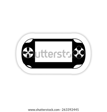 Portable game pad on a white background with shadow - stock vector