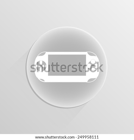 Portable game pad on a white button with shadow - stock vector
