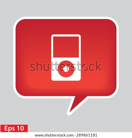 Portable media player icon. Flat design style. red glossy button. - stock vector