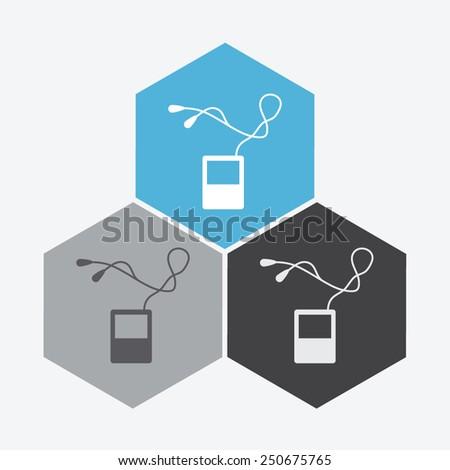 Portable music device. - stock vector