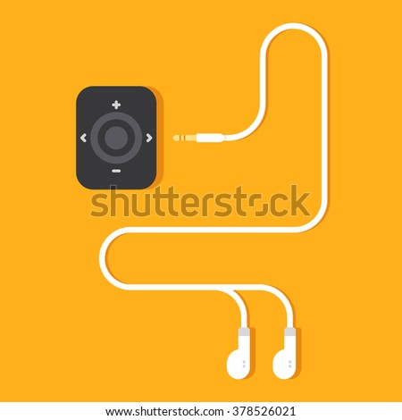 Portable music device on yellow background. Modern mp3 player with earphones. Vector flat illustration. - stock vector