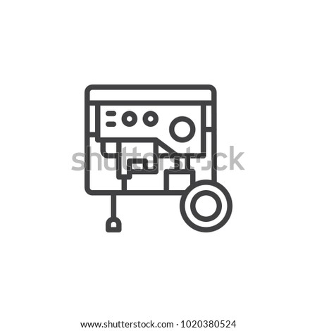 Portable Power Generator Line Icon Outline Stock Vector 1020380524 ...